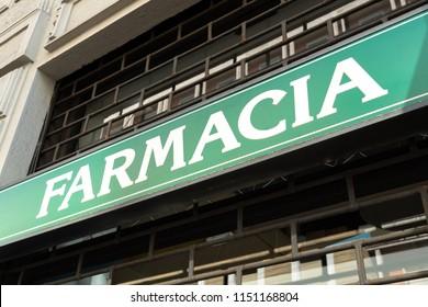 Farmacia, Italian pharmacy store sign
