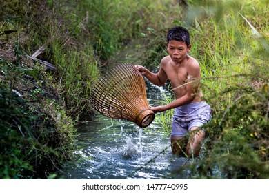 Farmer boy play in the rice field