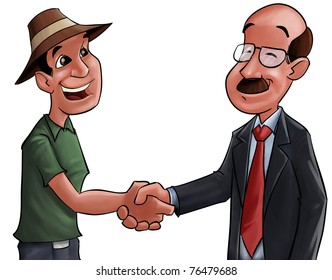farmer and a businessman shaking hands after a good deal