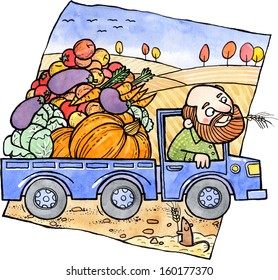 Farmer carries vegetables and fruits in a truck. Watercolor and ink illustration.