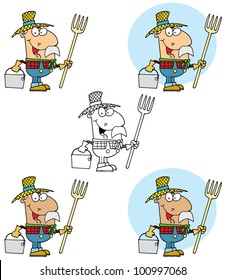 Farmer Carrying A Rake And Pail. Raster Illustration.Vector version also available in portfolio.