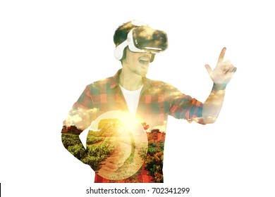 Farmer concept image. Double exposure of farmer with VR Glasses and coffee plantation