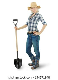 farmer girl in full growth with a shovel isolated on wight