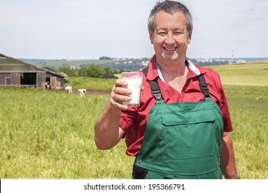 Farmer with glass of milk before his court