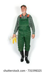 Farmer with green dungarees and black rubber boots stands in front of a white wall and holds in his hand two corn cobs.