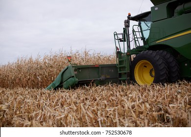 Farmer harvesting corn in a combine harvester with a side view of the cab and cutter bar as it cuts the maize plants