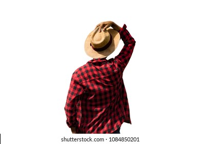 Farmer with hat isolated on white background