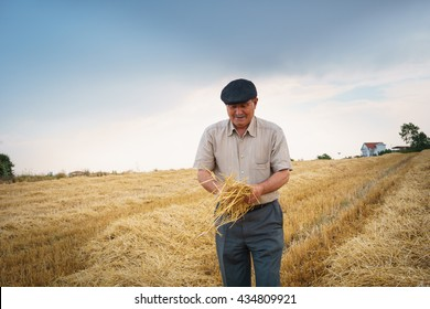 Farmer holding a piece from his crop
