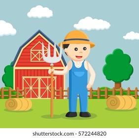 farmer holding pitchfork color