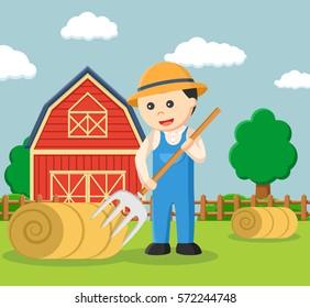 farmer making straw roll