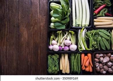 Farmer market fresh vegetables,food background with copy space
