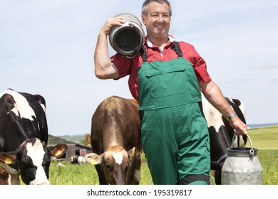 Farmer with milk jug with the cows