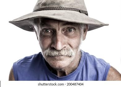 Farmer in old hat