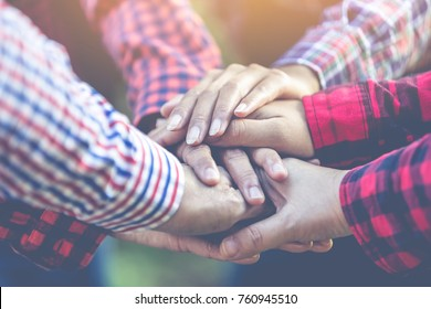 Farmer people join hand together.