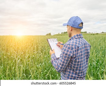 Farmer in a plaid shirt controlled his field and writing notes