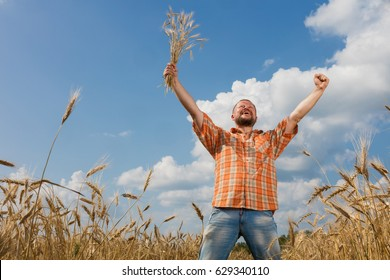 Farmer proudly raised his hands
