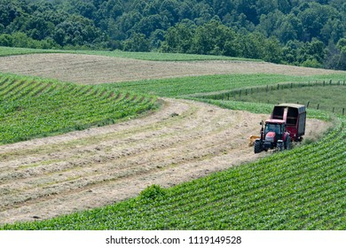 Farmer putting up haylage on a hilly hay field in Appalachia - landscape