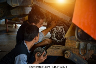 Farmer Repair Service Concepts of repairing mechanics, manufacturing, agricultural production, food production, agricultural production. Not scene