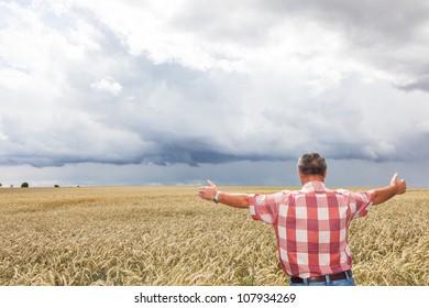 Farmer shows joy in his corn field