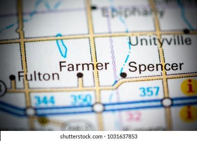 Farmer. South Dakota. USA on a map.
