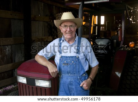 c37a91dc15d4e Farmer Standing Front His Tractor Barn Stock Photo (Edit Now ...