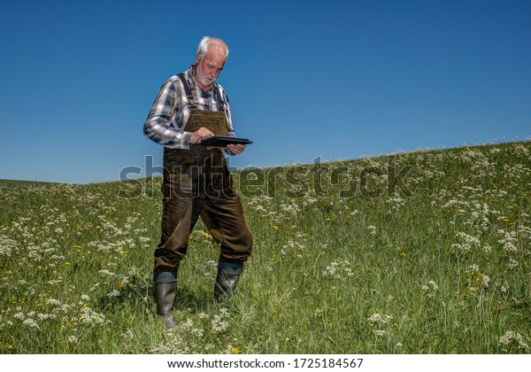 A farmer stands with a tablet computer on his organic meadow. Mobile Farming is an efficient way of managing the cultivated areas and the data is available on site at all times.