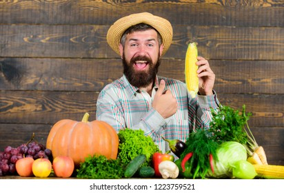 Farmer straw hat presenting fresh vegetables. Farmer with homegrown harvest. Farmer rustic villager appearance. Grow organic crops. Man cheerful bearded farmer hold corncob or maize wooden background.