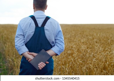 Farmer with tablet computer inspecting wheat field