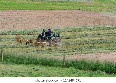 A farmer tedding hay putting it into windrows to be baled in an early summer hay field on a hillside in Appalachia.
