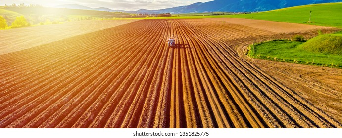 Farmer in tractor preparing land with seedbed cultivator in farmlands. Tractor plows a field. Agricultural work in processing, cultivation of land. Furrows row patter. aerial photo - Shutterstock ID 1351825775