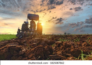 Farmer in tractor preparing land with seedbed cultivator as part of pre seeding activities in early spring season of agricultural works at farmlands Cultivated field Agronomy farming husbandry concept