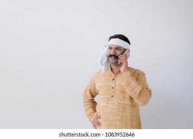 Farmer using the mobile phone