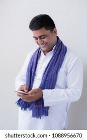 Farmer using mobile phone