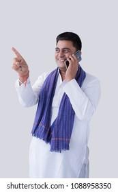 Farmer using the phone