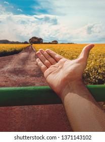 Farmer welcomes a soybean farm plantations in the Americas. Conc