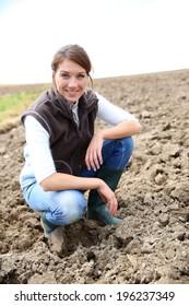 Farmer woman in farming land