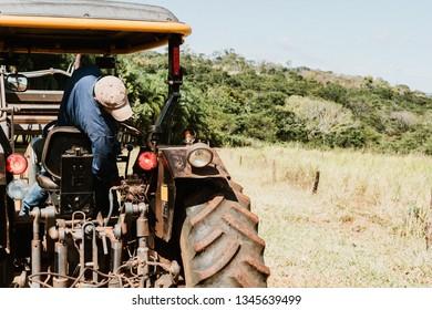 Farmer working on tracktor