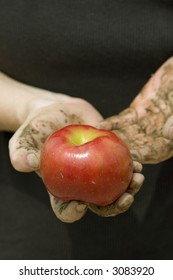 A farmers dirt caked hands holding out a red apple