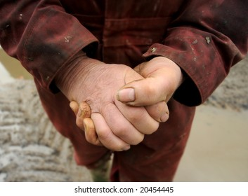farmers Hands with dirt and mud