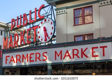 Farmers Market entance in Pike Place Market, Belltown District, Seattle, Washington, USA North America 21 September 2017