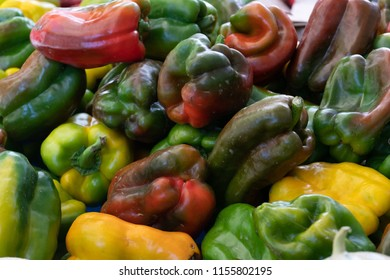 Farmers' market: red, green, and yellow peppers