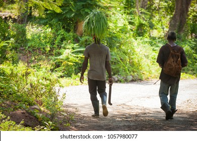 farmers walking home from after a long day at work