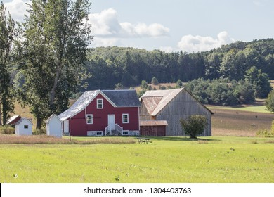 Farmhouse and barn in rural Leelanau county near Traverse City, Michigan