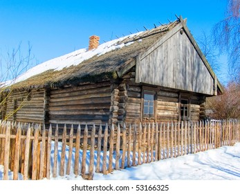 Farmhouse. Belarus. The Museum under opened by sky.