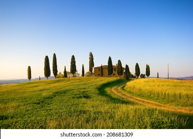 Farmhouse and cypress trees in Tuscany, italian landscape