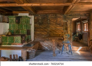 Farmhouse sitting room in the Markus Wasmeier Farm and Winter Sports Museum, Schliersee, Upper Bavaria, Bavaria, Germany, Europe, 17. October 2017