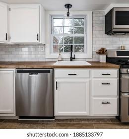 Farmhouse style white kitchen detail