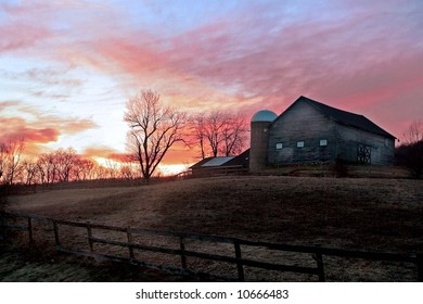 Farmhouse at sunset in upstate NY
