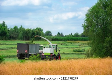 Farming activity with a self-propelled forage machinery, harvesting grass and loading a trailer, in Baden Wuerttemberg region, Germany.