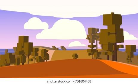 Farming Environment. Stylized Cartoon Countryside.